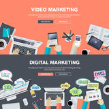 Комплект плоских концепций иллюстрации дизайна для видео- и цифрового маркетинга Стоковая Фотография