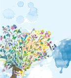 与水彩元素的花卉背景 免版税图库摄影