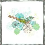 与鸟的葡萄酒花卉装饰 图库摄影