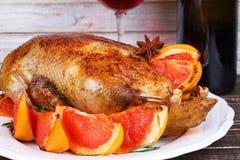 鸭子用葡萄柚 免版税库存照片