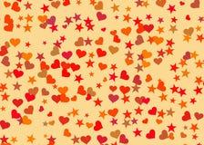 心脏和星背景 假日标志 免版税库存照片