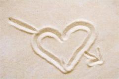 沙子心脏 免版税库存图片