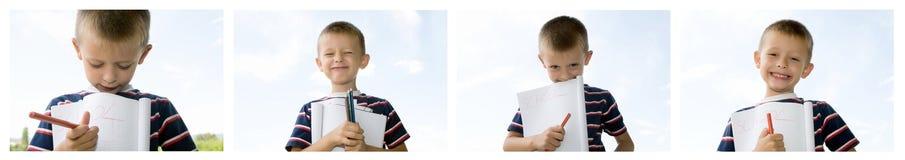 逗人喜爱的矮小的男小学生 免版税库存照片