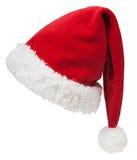 在白色隔绝的圣诞老人红色帽子 免版税库存照片