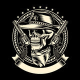 Череп ковбоя с личными огнестрельными оружиями Стоковые Фото