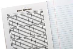 构成书学校日程表 库存照片