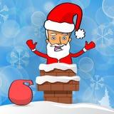 Счастливый Санта Клаус с сумкой настоящих моментов вставил в печной трубе Стоковые Фотографии RF