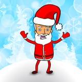 Милый Санта Клаус на голубой предпосылке зимы Стоковые Фото