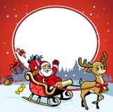 圣诞老人和鹿问候圣诞节 库存图片