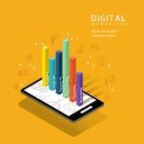 数字式营销与图表的媒介概念在巧妙的电话 免版税库存照片