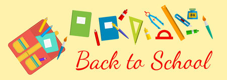 回到学校的水平的横幅 书包和文具 免版税库存照片