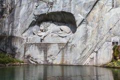 狮子纪念碑在卢赛恩 库存照片