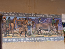 历史壁画在老镇有画廊的亚伯科基在新墨西哥美国 免版税图库摄影