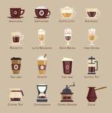 Комплексное меню значка вектора кофе Стоковая Фотография RF