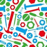 硬件螺丝和钉子与工具上色无缝的样式 库存照片