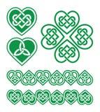 Ιρλανδικό, σκωτσέζικο κελτικό πράσινο σχέδιο καρδιών Στοκ φωτογραφία με δικαίωμα ελεύθερης χρήσης