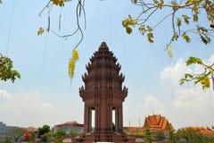 独立纪念碑在金边,柬埔寨 库存照片