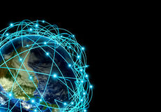 全球企业和主要根据真正的数据的航线的互联网概念 库存照片