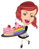女服务员服务被切的蛋糕 免版税库存图片