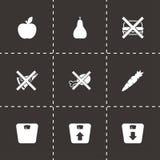 Комплект значка диеты вектора черный Стоковое Изображение