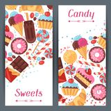 垂直的横幅用五颜六色的糖果,甜点和 库存图片