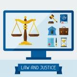 与计算机和法律象的概念例证 免版税图库摄影