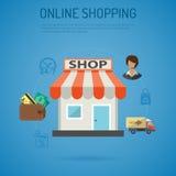 Плакат покупок интернета Стоковые Изображения
