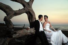 室外亚洲婚礼的夫妇 免版税库存照片