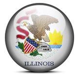 映射与在美国伊利诺伊状态旗子按钮的光点图形  免版税图库摄影