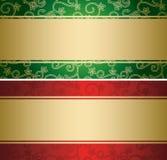 与金黄装饰的红色和绿色背景-卡片 免版税库存照片