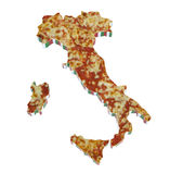 意大利在薄饼播种的国家地图 免版税库存照片