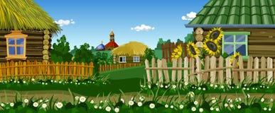 动画片有房子和教会的村庄街道 免版税图库摄影