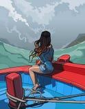 有坐在小船的长的头发的美丽的女孩 免版税库存照片