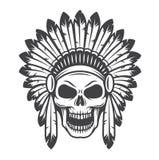 美洲印第安人头骨的例证 免版税库存图片