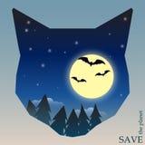 Схематическая иллюстрация на теме защиты природы и животных с лесом ночи с летучими мышами и луной в силуэте кота Стоковые Изображения RF