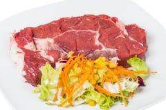 Ακατέργαστες μοσχαρίσιο κρέας και σαλάτα Στοκ φωτογραφία με δικαίωμα ελεύθερης χρήσης