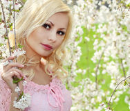 有樱花的春天女孩 美丽的白肤金发的妇女年轻人 免版税库存图片