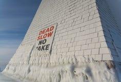 休伦湖灯塔在冬天 免版税库存图片