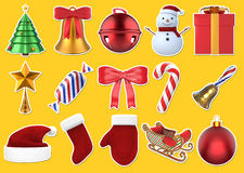 Τρισδιάστατο σύνολο αυτοκόλλητων ετικεττών Χριστουγέννων Στοκ Εικόνες