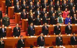 Верхние китайские руководители присутствуя на встрече парламента Стоковые Фото