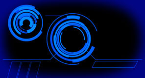 Φουτουριστική ολογραφική εικονική επιτροπή οργάνων ελέγχου, μπλε αφηρημένο υπόβαθρο Στοκ Εικόνες