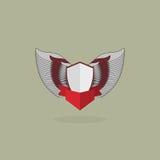 Ασπίδα με τα φτερά τρύγος εραλδικός Στοκ Φωτογραφίες