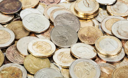 老肮脏的欧洲硬币 免版税库存照片