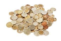 在白色的不同的老欧洲硬币 免版税库存图片