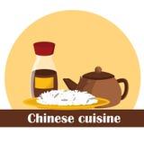 Иллюстрация вектора на китайской теме еды Стоковое Изображение RF