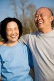 亚裔夫妇前辈 免版税图库摄影
