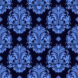 Безшовные флористические обои штофа в голубых цветах Стоковая Фотография