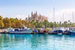 帕尔马口岸小游艇船坞马略卡大教堂 免版税库存图片