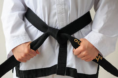 跆拳道黑腰带级选手 库存照片