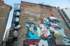 由未认出的艺术家的墙壁上的街道艺术犹太四分之一卡齐米日的 图库摄影